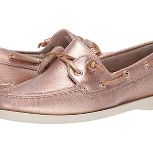 Sperry A/O Vida Rose Gold Metallic Boat Shoe 9